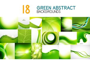 Vector mega collection of green shiny waves, swirls, flowing shapes abstract backgrounds and banners