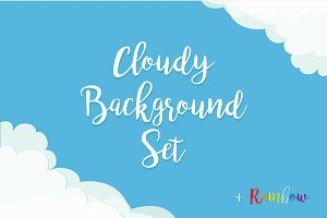 Cloud background template set