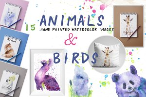 Animals & birds watercolor set