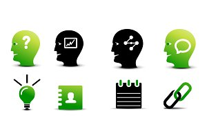 Set of green and black business icons