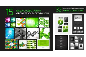 Vector mega collection of geometric abstract backgrounds and dividers