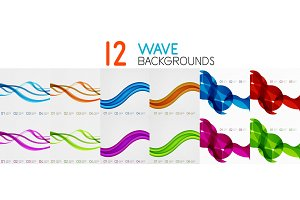 Vector collection of bright wave templates