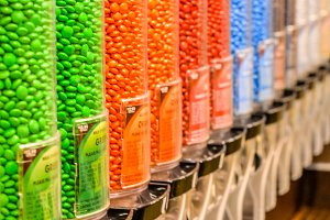 Candy colored M&M's