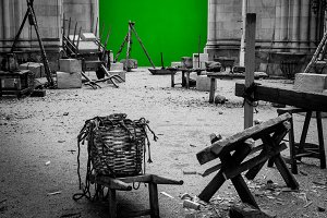 Set of filming with Green Screen