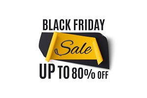 Black friday sale banner, isolated on white background.
