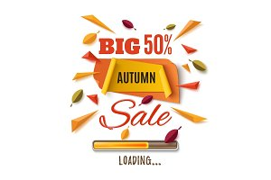 Big autumn sale, abstract banner.