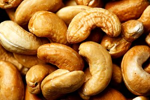 Roasted cashew nuts close-up