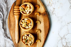 Honey and nuts, healthy sweet