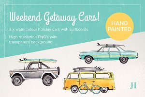 Watercolour Holiday Cars