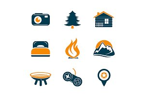 Travel and outdoor icons set