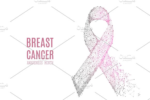 Breast Cancer Awareness Month Low Poly Gray