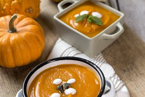 Cream of pumpkin in bowl