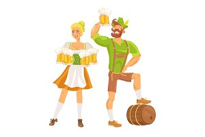 Waitress Traditional Costume Vector Illustration
