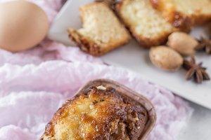Homemade cinnamon cake and almonds