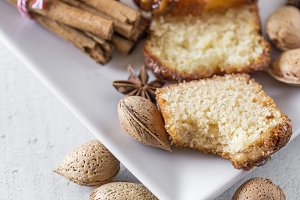 Homemade cinnamon cake and almonds