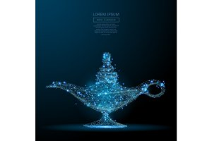 magic lamp low poly blue
