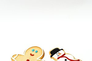 Christmas cookies on wooden table