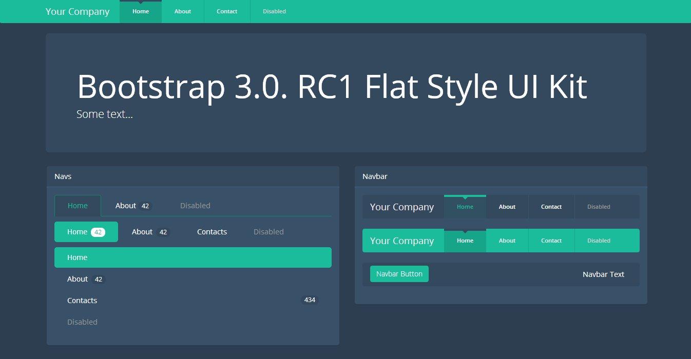 Navbar Design: Bootstrap 3.0.v. Theme Flat Dark UI
