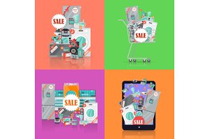 Sale in Electronics Store Vector Concepts Set