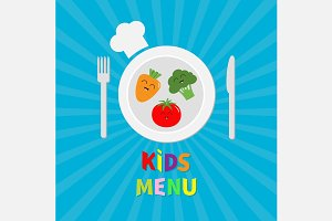 Kids Menu card. Smiling vegetables.