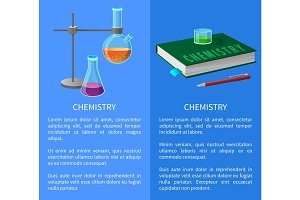 Textbook and Chemistry Tools Isolated Illustration