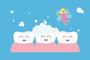 Three tooth gum icon set. Fairy