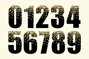 Festive luxury numbers with glamour golden glitter confetti
