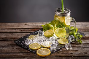 Cold refreshing summer lemonade