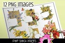 Vintage Floral Notes - PNG Image Set
