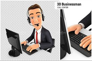 3D Businessman Call Center