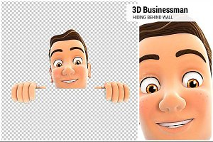 3D Businessman Hiding Behind Wall