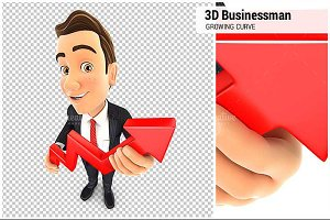 3D Businessman Growing Curve