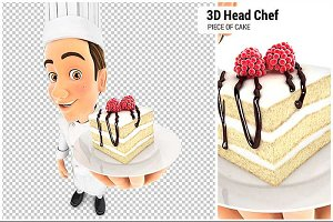 3D Head Pastry Chef Piece of Cake