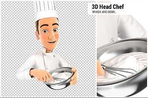3D Head Pastry Chef Whisk and Bowl