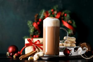 Hot Cacao on Christmas background