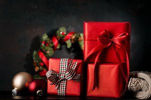 Wrapped gifts in composition