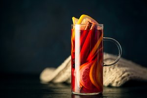 Hot mulled wine in glass