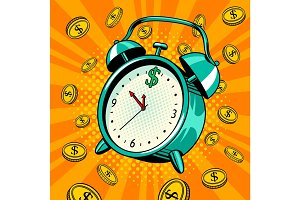Alarm clock with money pop art vector illustration