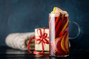 Wine with spices in Christmas composition