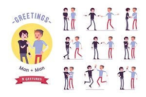 Teens greeting character set, various poses and emotions