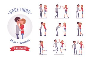 Young man and woman greeting character set, various poses, emotions