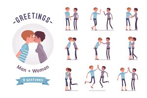 Male and female greeting character set, various poses, emotions