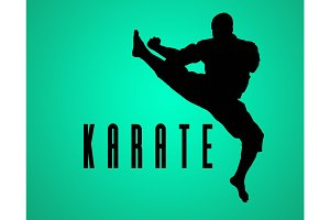 The silhouette of Man training karate