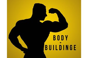 The silhouette of torso  male body builder