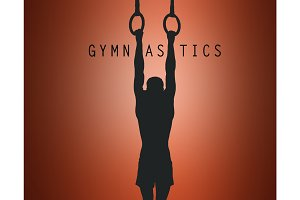 The silhouette of Gymnast on Stationary Rings