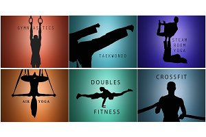 The collage from silhouettes of man and woman training sport
