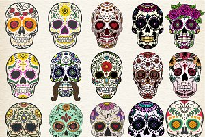 Sugar skulls Set Vector Illustration