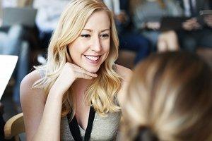 Woman Meeting Work Talking Smiling