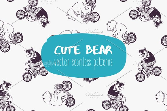 Seamless pattern with cute bears