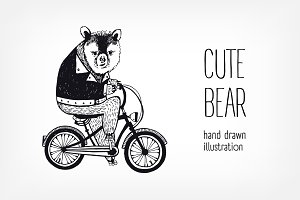 Cute cartoon brown bear